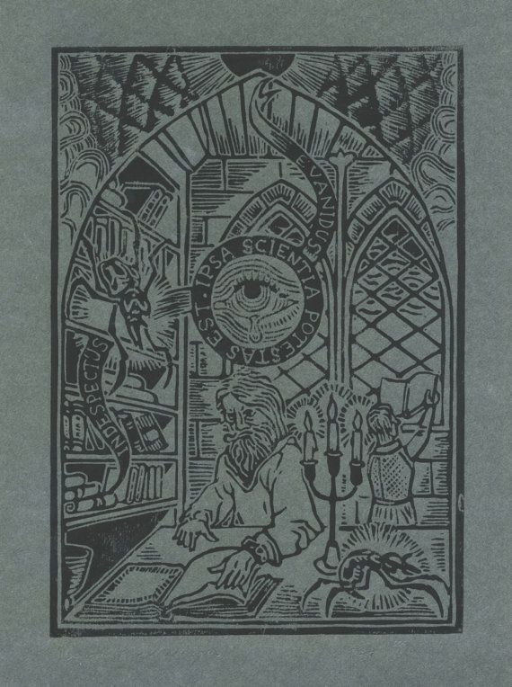 "Original Linoprint art alchemy magic history Linocut scarab spider insect library supernatural ""Scarabus bibliophagus"" 7/50 ed Preaterlimina"