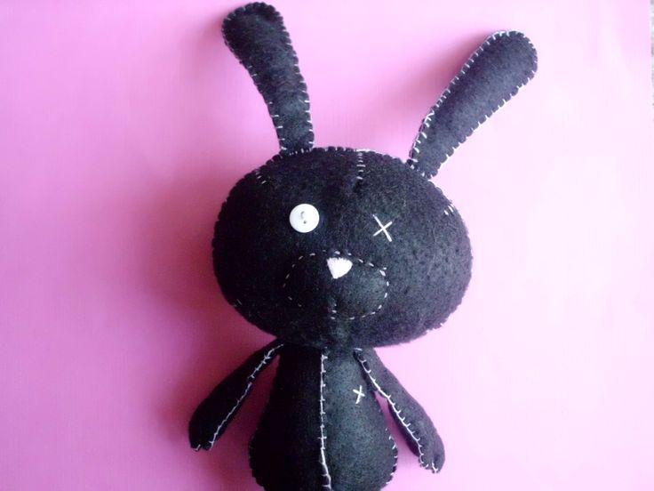 Cute Black Floppy Bunny Rabbit Plush Softie Stuffed Animal Plushie Soft Easter Ooak Gift Nursery Goth Gothic. $18.00, via Etsy.