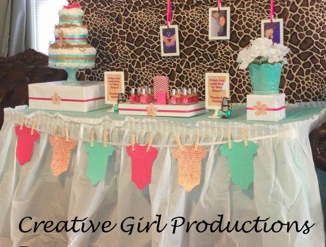 """Photo 5 of 11: Baby Shower/Sip & See """"It's a Girl! Tiffany Blue & Giraffe Print Babyshower"""" 