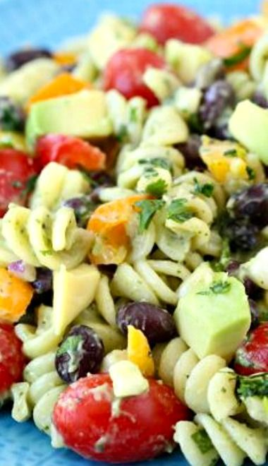Southwestern Pasta Salad ~ The pasta salad is loaded with flavor... The creamy avocado dressing. It is rich and creamy, but in a healthy kind of way.
