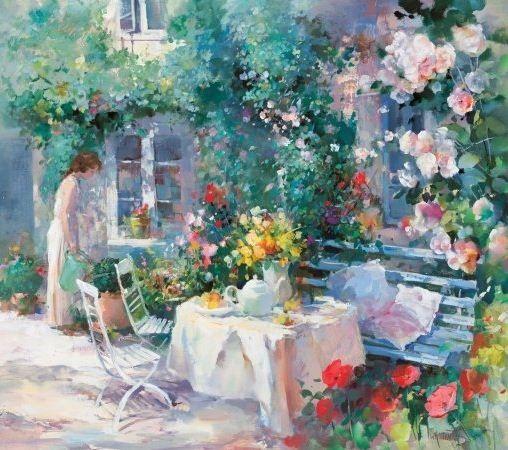 Willem Haenraets. Воздушная живопись. Women in garden II