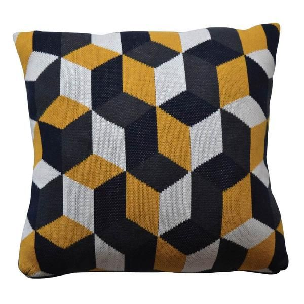 This super soft, machine knitted geometric square cushion is patterned with mustard, grey, cream and navy diamonds. Machine washable. Discreet grey zip.