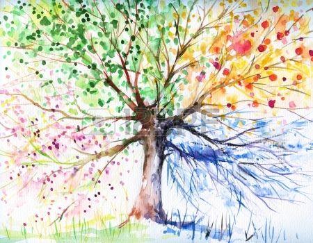 Kézzel festett illusztráció négy évszak fa kép készített akvarellek