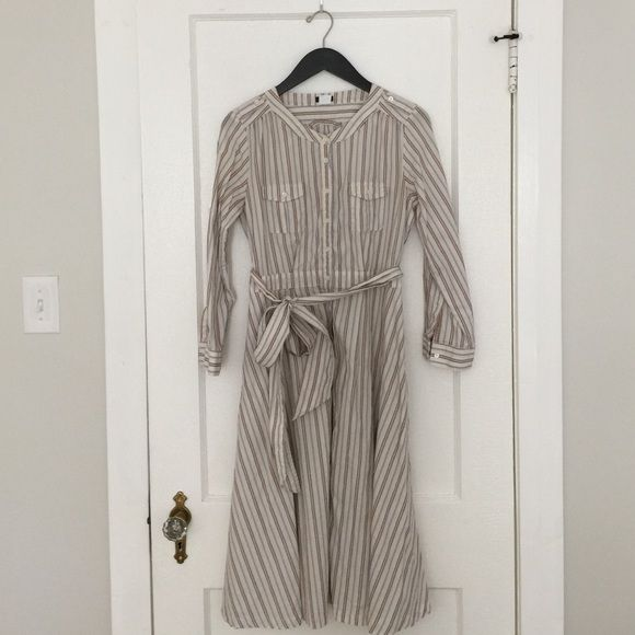 """Striped J Crew Shirtdress Striped J Crew shirt dress sized 6. 3/4 sleeves. Waist measures 28"""". Hits about knee length- perfect with boots for fall! J. Crew Dresses"""