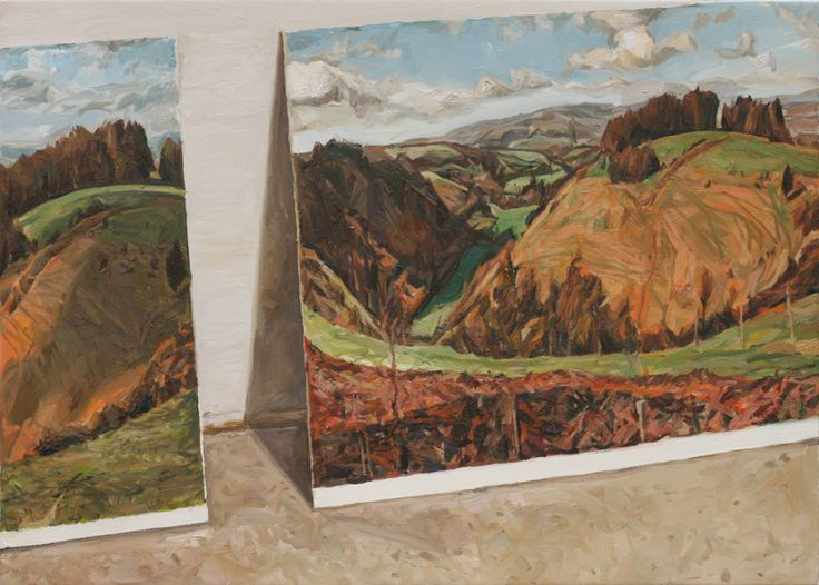Postcards (Hardy Country) (2014) 67cm x 91cm, oil on linen by Richard Allen. His application painting.
