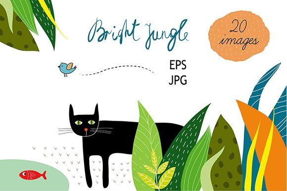 Colorful jungle 20 files EPS & JPG Graphics Bright multicolored jungle. Can be used as a template for universal colorful postcards, invitations by Lera Efremova