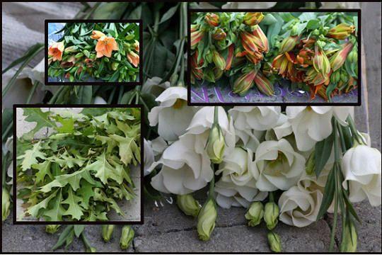 Herfstcascade of waterval van bloemen en groen op zuil - bloemstuk maken herfst op zuil