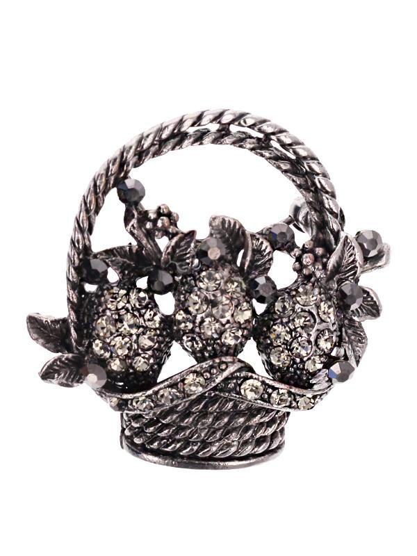 Brosa martisor in forma de cosulet cu fructe de culoarea argintului tibetan, impodobit cu pietricele multifatetate de culoare alba. Raspunde celor mai exigente gusturi!