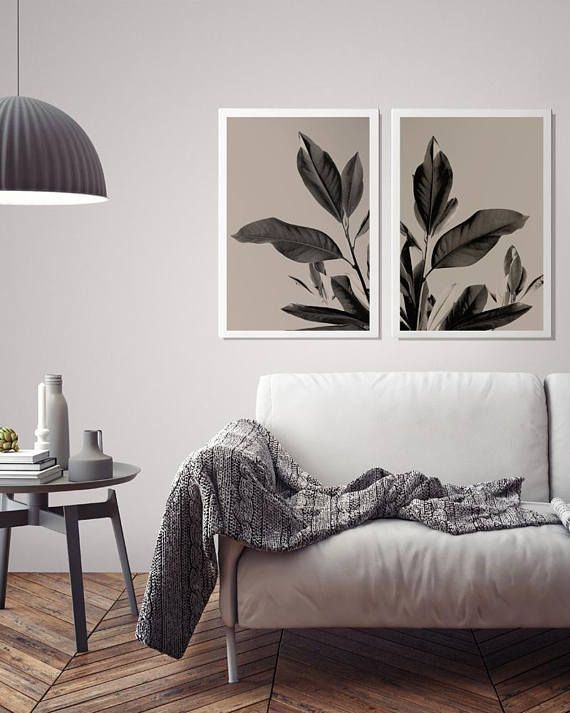 Botanical prints Set of 2 posters Leaf Wall Decor Printable