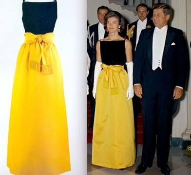 President Kennedy favored a few dresses worn by Mrs. Kennedy President Kennedy's favorites included this black silk velvet and Chinese yellow silk satin evening dress designed by Chez Ninon. Mrs. Kennedy wore it to a White House state dinner honoring President Manuel Prado of Peru on September 19, 1961. -from the JFK Library