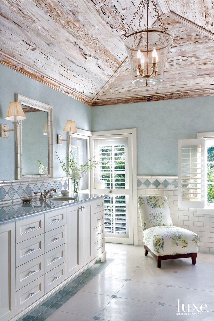 Pale blue bathroom - Coastal Bathroom Allison Paladino Interior Design
