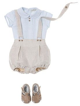 Pili Carrera - USA - Baby Collections. Conjunto tirantes crema y azul.