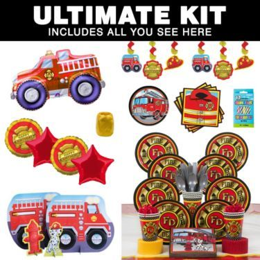 Fire Fighter Birthday Party Ultimate Tableware Kit Serves 8