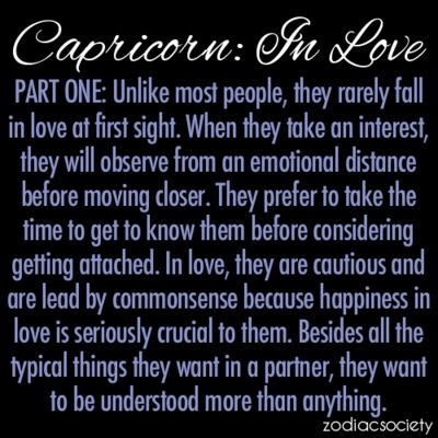 Capricorn: In Love, Part One....you got that right!!!