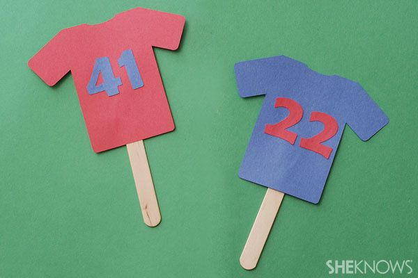 Construction paper jerseys- add child's head to make a personalized puppet :)