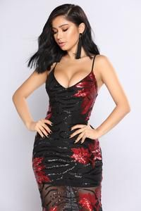 Chaney Sequin Midi Dress - Black