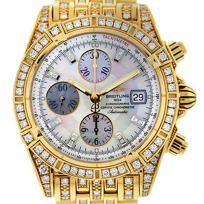 Breitling Chronomat Evolution K13356AJ All Diamond 18k Yellow Gold Watch Click to find out more -  http://menswomenswatches.com/breitling-chronomat-evolution-k13356aj-all-diamond-18k-yellow-gold-watch/