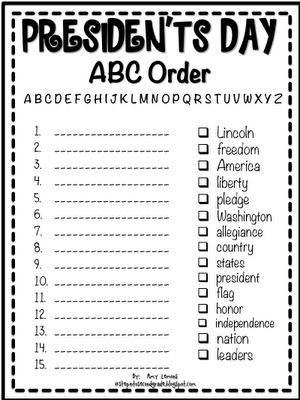 president 39 s day abc order printable alphabet presidents and preschool. Black Bedroom Furniture Sets. Home Design Ideas