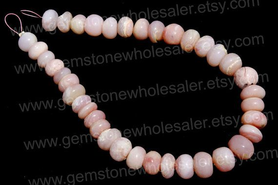 Pink Opal Smooth Roundel Quality B / 18 cm / by GemstoneWholesaler