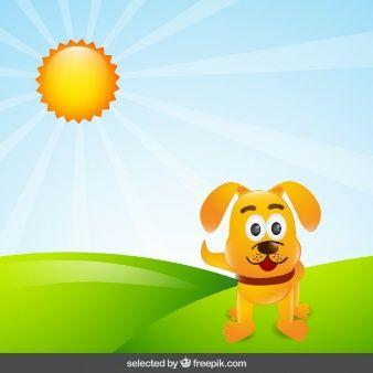 Perro de dibujos animados en el campo
