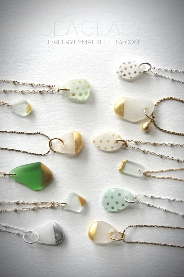 Gold-dipped Seaglass necklaces -  etsy jewelry -  www.jewelrybymaebee.etsy.com