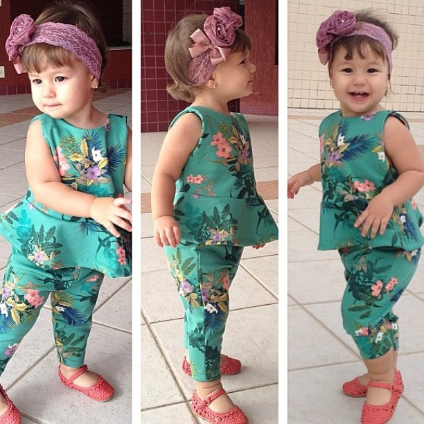 Oh my gosh! Baby peplum top with cropped legging- cute!