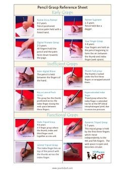 Pencil Grasp Reference Sheet {$2.50} at Your Kids OT.  Read more on the blog http://www.yourkidsot.com/blog/pencil-grasp-reference-sheet
