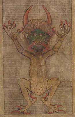 Notorious illustration from the 'Codex Gigas,' or 'Devil's Bible.' The work of apparently one Benedictine monk, the ms. was once considered the 8th Wonder of the World.