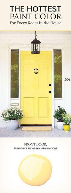 Sundance by Benjamin Moore. Yellow Paint Color. Front Door Paint Color. #BenjaminMooreSundance Via Pop Sugar.