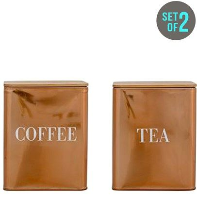Ozsale - Copper Set Of 3 Metal Tins Coffee & Tea was $70 and is now $45 in our Bloomingville sale.
