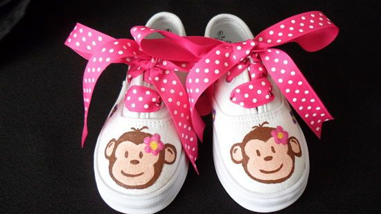 Girls Handpainted Mod Monkey Pink Bow Shoes (More Styles)