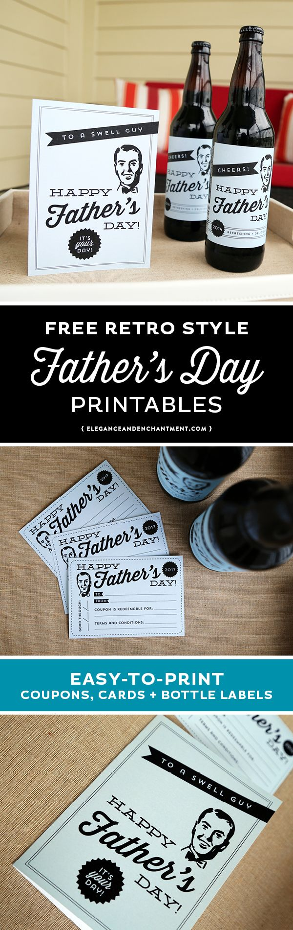 Find a free and easy last-minute Father's Day Gift in these retro styled Father's Day Printables. Your free download includes a Father's Day Card, Coupons and Beer/Wine/Soda Pop Labels. // Designs from Elegance and Enchantment