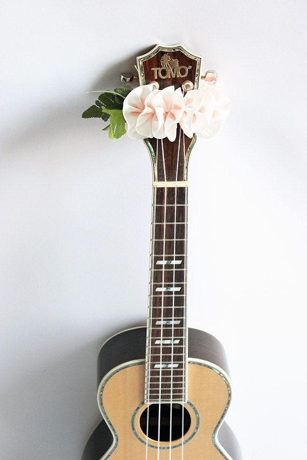ribbon lei for ukulele / w plumeria C  / ukulele accessories / ukulele decor / mandolin / banjo / hawaiian lei /  satin ribbon/flower ribbon