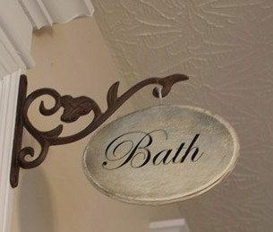 Bathroom Vintage Sign Wscroll Hanger