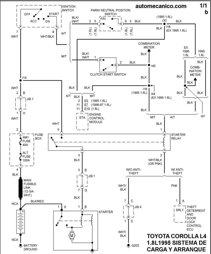 Diagrama De Encendido Y Carga De Toyota Corolla 1995