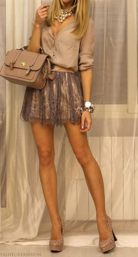 Lacy skirt and nude heels