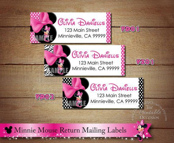 Minnie Mouse Return Address Labels, Pink Address Labels, Pink, Zebra, Polka Dotted, Mailing Labels