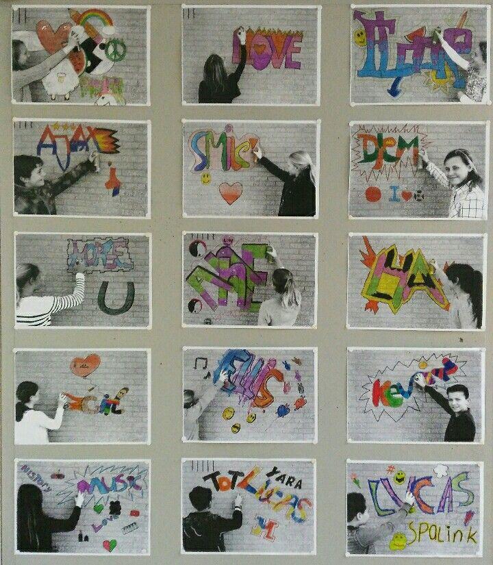 Knutselwerk met naam - graffiti letters tekenen - foto tegen stenen muur als achtergrond