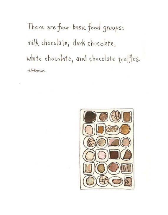 4 basic food groups - agreed! :) | Valentines Day Chocolate Quote Painting by bonjourfrenchie, $30.00