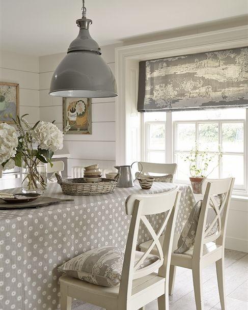 Scandi Dining Room + Roman Blind Vanessa Arbuthnott #naturalcurtaincompany #littleswedishlakehouse
