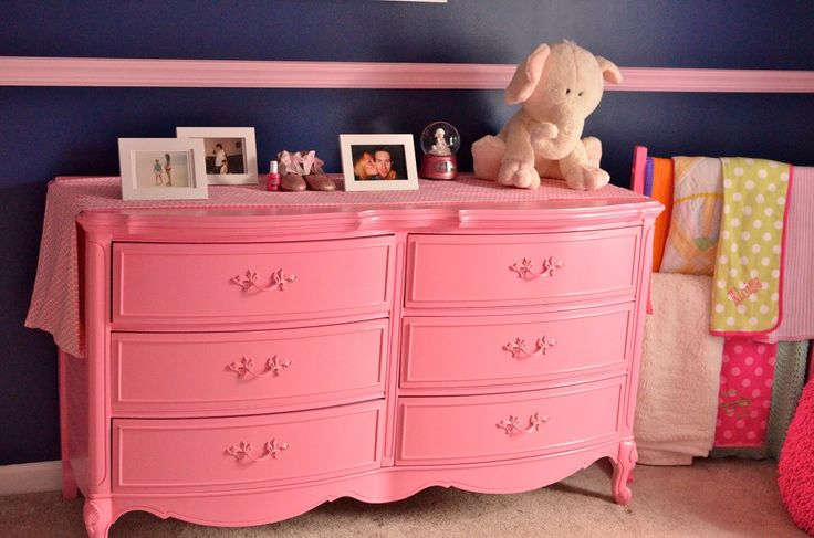 Vintage dresser painted bubblegum pink - fun pop of color in the nursery! #nurserydecorPink And Navy Baby Room, Old Dressers, Pink Navy Girls Room, Pink Nurseries, Pink Dressers Nurseries, Baby Girls Navy Room, Dressers Painting, Girls Baby, Painting Dressers
