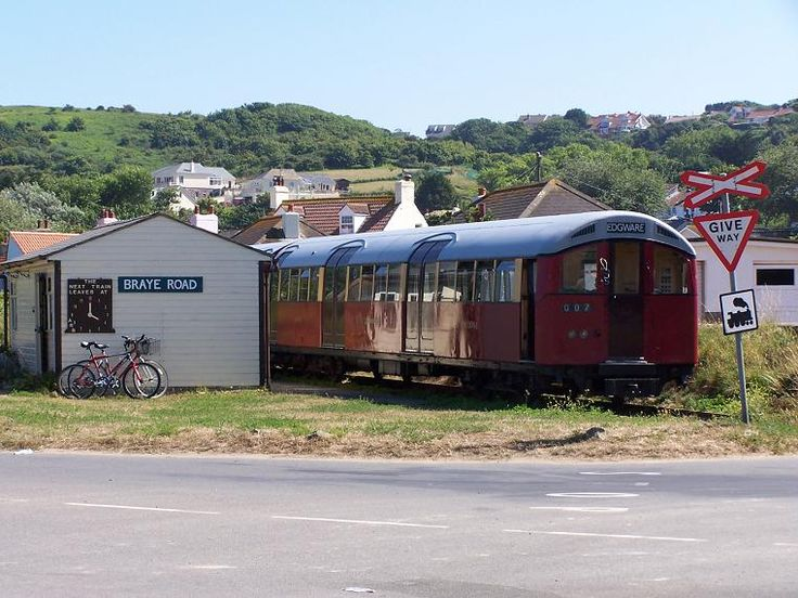Braye Road station on the island of Alderney with a train going to my old home town of Edgware Middlesex.