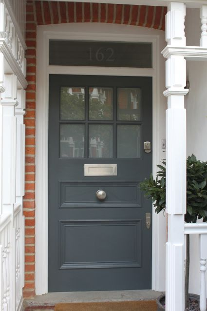 Front door in Farrow and Ball Railings Click through for The Best Gray Front Door Paint Colours on Modern Country Style