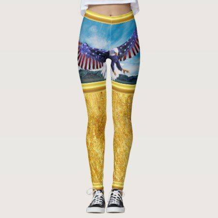 American flag Eagle flying in the sky gold foil tap/click to personalize or buy right now! a custom leggings #baldeagles #patrioticdesigns #Americanflag #4thOfJuly