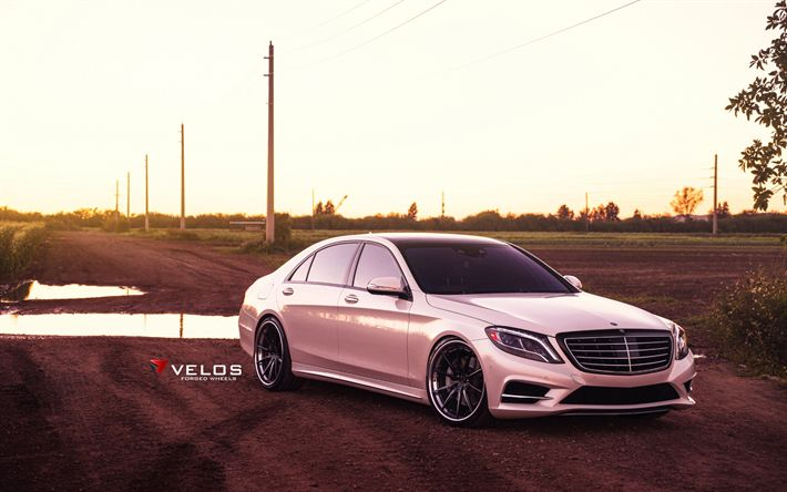 Download wallpapers Velos Wheels, tuning, Mercedes-Benz S550, W222, 2017 cars, Velos S10, pink s-class, Mercedes