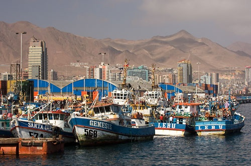 Fishing boats at the port of Antofagasta