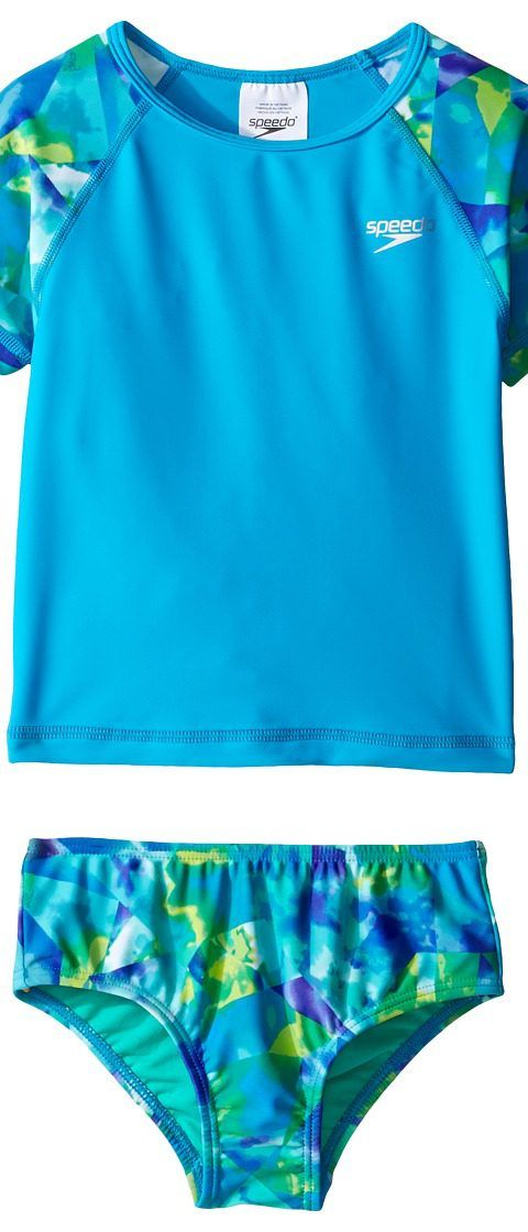 Speedo Kids Printed Short Sleeve Rashguard Two-Piece Swimsuit Set (Infant/Toddler) (Cyan) Girl's Swimwear Sets - Speedo Kids, Printed Short Sleeve Rashguard Two-Piece Swimsuit Set (Infant/Toddler), 7713702-462, Apparel Sets Swimwear, Swimwear, Sets, Apparel, Clothes Clothing, Gift, - Street Fashion And Style Ideas