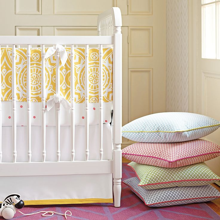 Serena & Lily's new Marni collection enlivens a medallion print with  yellow. And that's just the bumper. A penny dot crib sheet ...
