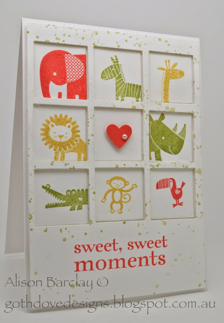 Gothdove Designs - Alison Barclay #stampinup #stampinupaustralia #ZooBabies #BabyCard #HappyDay