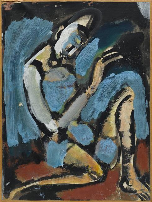 Georges Rouault (1871-1958) was een Franse expressionistische en fauvistische schilder  Zijn moeder stimuleerde zijn liefde voor kunst en in 1885 ging hij in de leer bij een glasschilder. Rouault leerde ook Henri Matisse kennen. Deze vriendschap bracht hem in aanraking met het Fauvisme. Zijn scholing als glasschilder zorgde ervoor dat    liefde voor middeleeuwse kunst ontstond. Deze scholing wordt ook gezien als bron voor zijn stijl van dikke zwarte contourlijnen en heldere kleuren. , 1922.